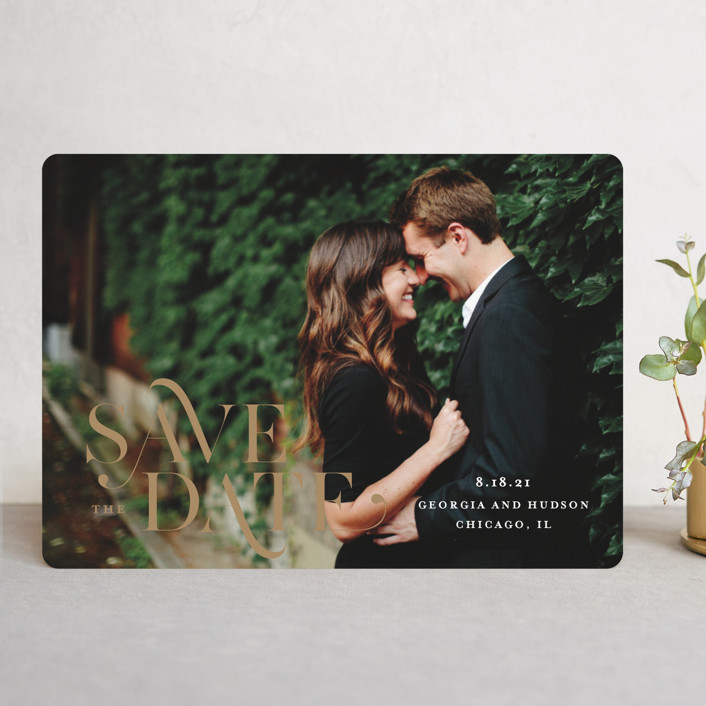 """""""Stacked Serif"""" - Save The Date Cards in Cream by Lauren Chism."""