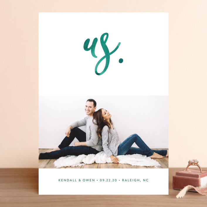 """""""Simply Us"""" - Save The Date Cards in Forest by Jessica Maslyn."""