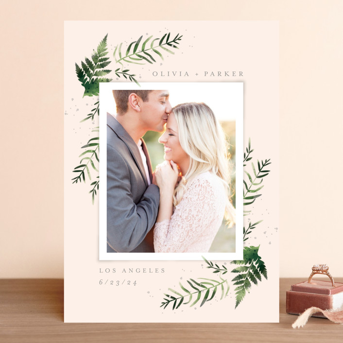 """Fresh Fern"" - Save The Date Cards in Snow by Kristie Kern."