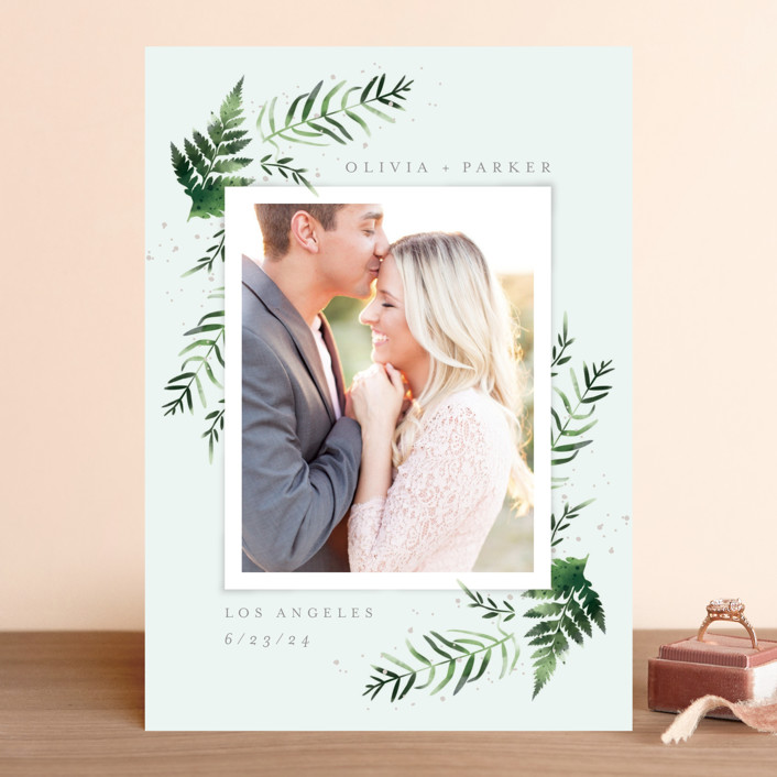 """""""Fresh Fern"""" - Save The Date Cards in Snow by Kristie Kern."""
