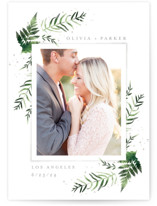 This is a white save the date by Kristie Kern called Fresh Fern with standard printing on smooth signature in standard.