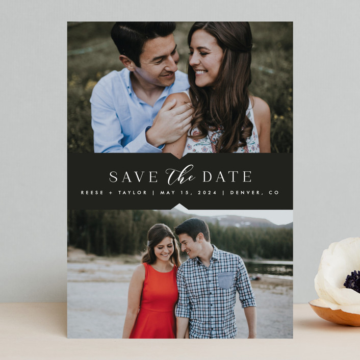 """Liebe"" - Save The Date Cards in Charcoal by carly reed walker."