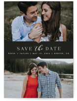 This is a black save the date by carly reed walker called Liebe with standard printing on smooth signature in standard.