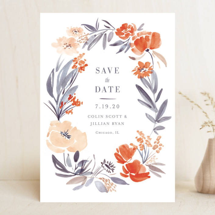 """Fancy Florals"" - Save The Date Cards in Hibiscus by Morgan Ramberg."