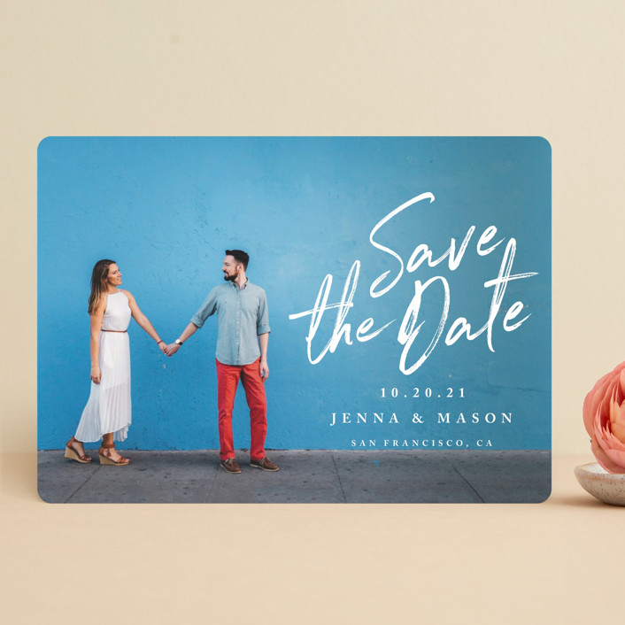 """Jot It Down"" - Save The Date Cards in Pearl by Owl and Toad."