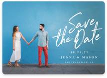 This is a white save the date by Owl and Toad called Jot It Down with standard printing on smooth signature in standard.