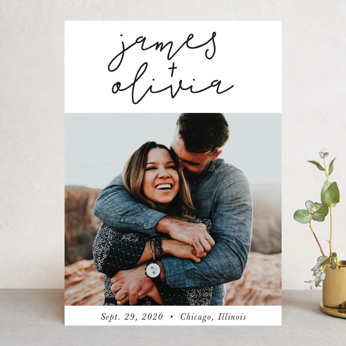 """""""Modern Love"""" - Save The Date Cards in Tuxedo by Christine Taylor."""