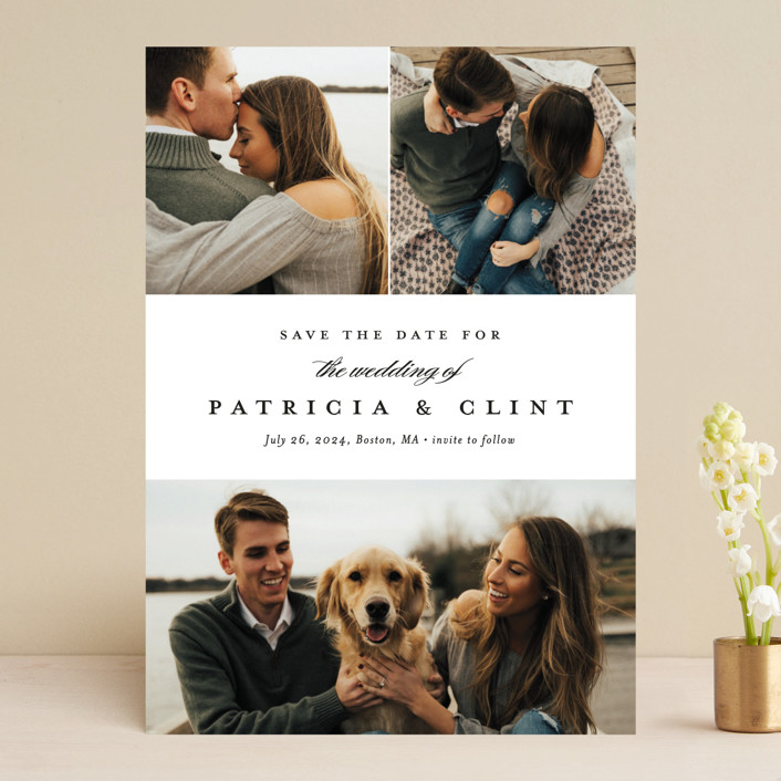 """""""Classic Trio"""" - Save The Date Cards in Icicle by Stacey Meacham."""