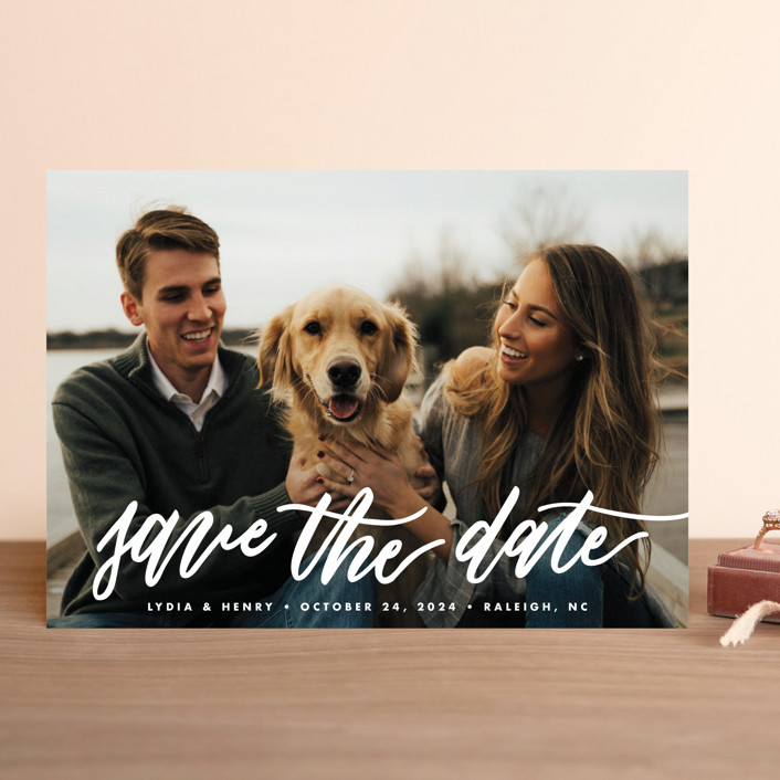 """""""Lettered bliss"""" - Save The Date Cards in Silk by Stacey Meacham."""