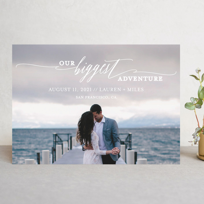 save the date card ocean background