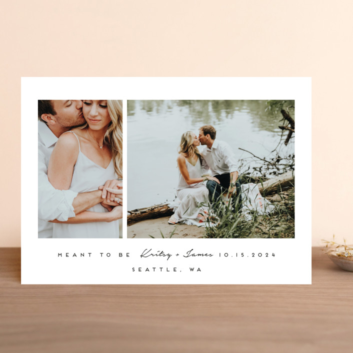 """""""meant to be"""" - Save The Date Cards in Tuxedo by Angela Garrick."""