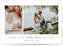 This is a black save the date by Angela Garrick called meant to be with standard printing on smooth signature in standard.