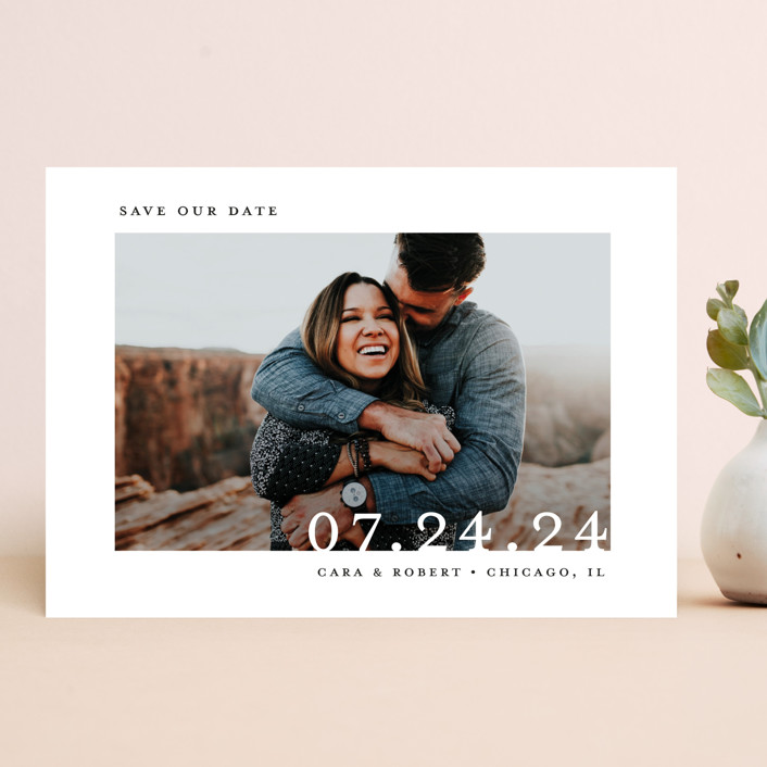 """Minimal Message"" - Save The Date Cards in Cloud by Lindsay Megahed."