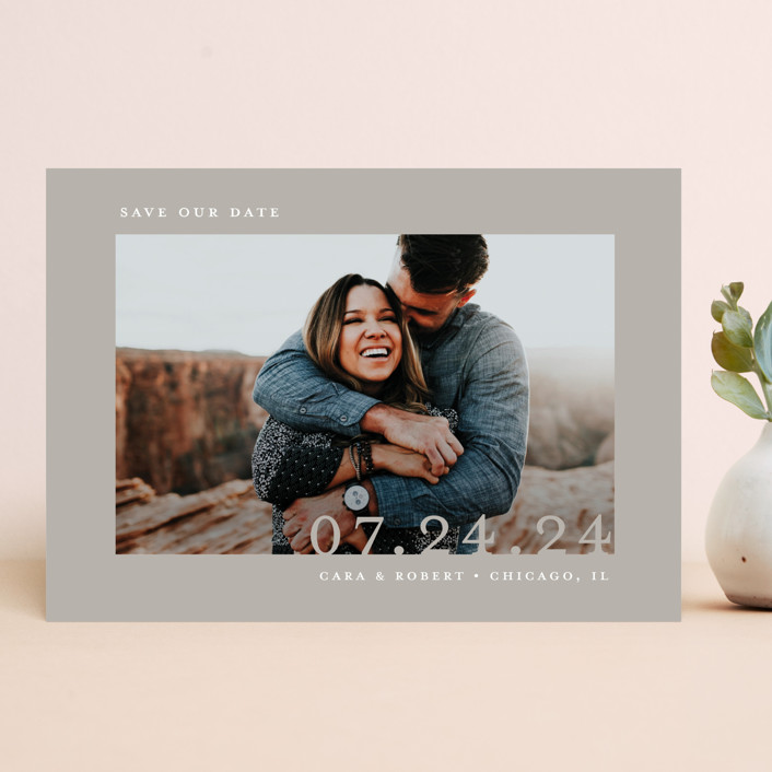 """""""Minimal Message"""" - Save The Date Cards in Cloud by Lindsay Megahed."""