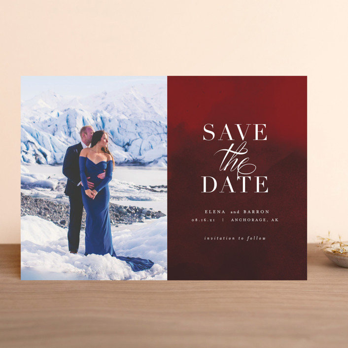 """Velvet"" - Save The Date Cards in Crimson by AK Graphics."