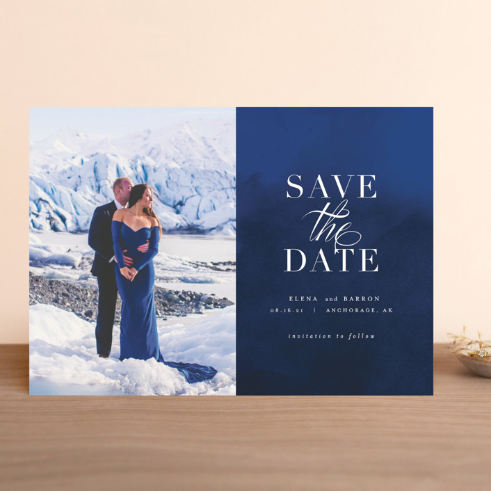 """""""Velvet"""" - Save The Date Cards in Denim by AK Graphics."""
