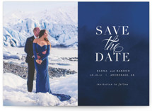 This is a blue save the date by AK Graphics called Velvet with standard printing on smooth signature in standard.