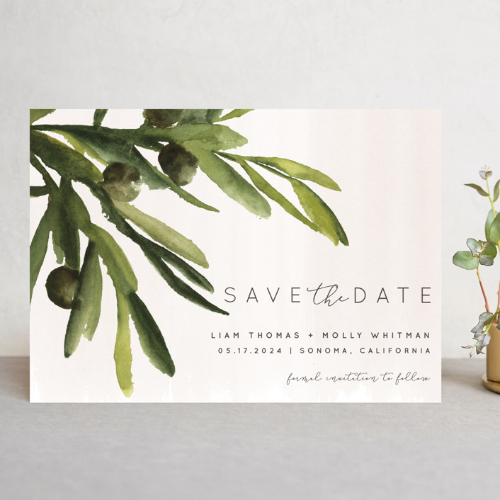 """olive bough"" - Save The Date Cards in Vanilla by Kate Ahn."