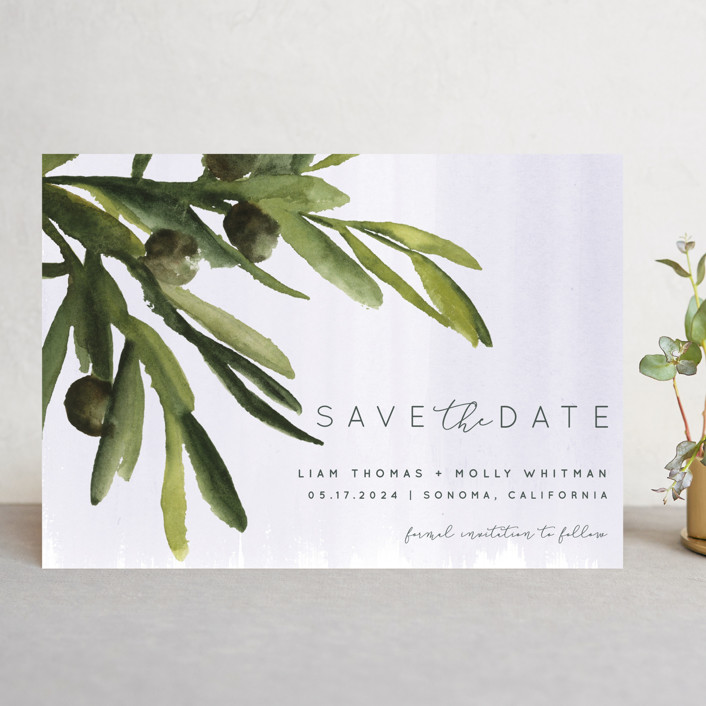 """""""olive bough"""" - Save The Date Cards in Vanilla by Kate Ahn."""