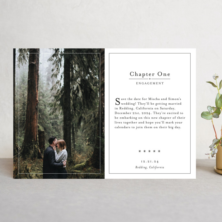 """Storybook"" - Save The Date Cards in Snow by Becca Thongkham."