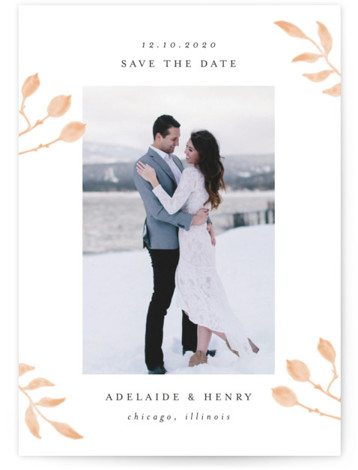 This is a landscape, portrait botanical, beige Save the Dates by Lehan Veenker called Serenity with Standard printing on Signature in Classic Flat Card format. This light and airy photo save the date features hand drawn watercolor botanicals.