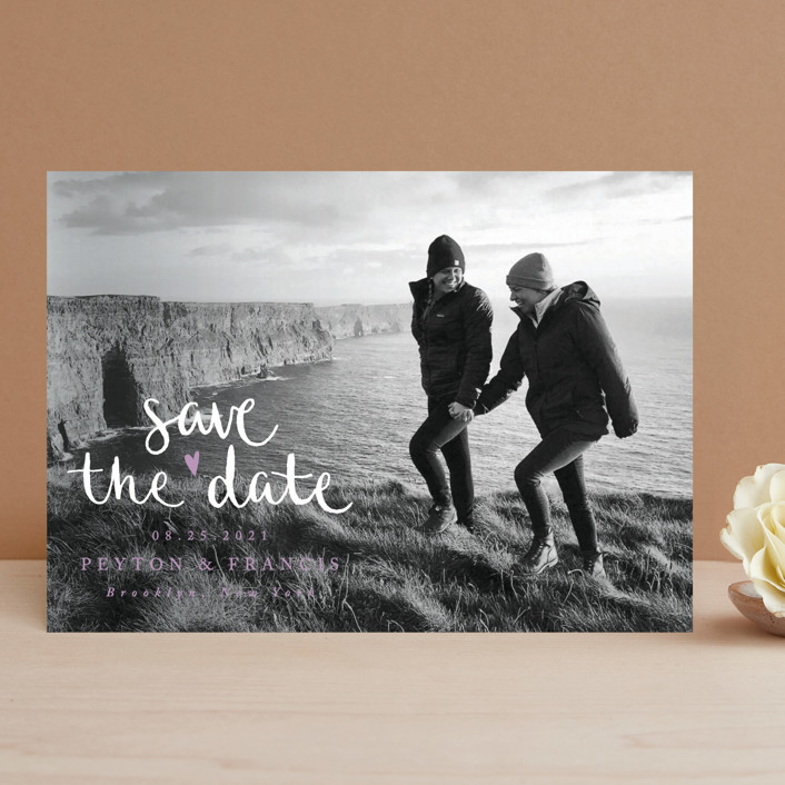 """Lovely couple"" - Hand Drawn, Modern Save The Date Cards in Moon by Claudia Orengo."