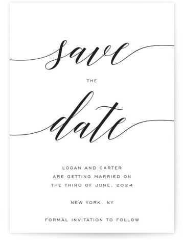 This is a portrait simple and minimalist, black, white Save the Dates by Design Lotus called Someone Like You with Standard printing on Signature in Classic Flat Card format. Modern minimal