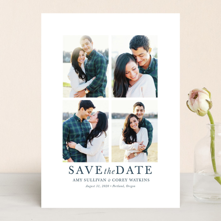 """make it merrier"" - Save The Date Cards in Midnight by Jula Paper Co.."