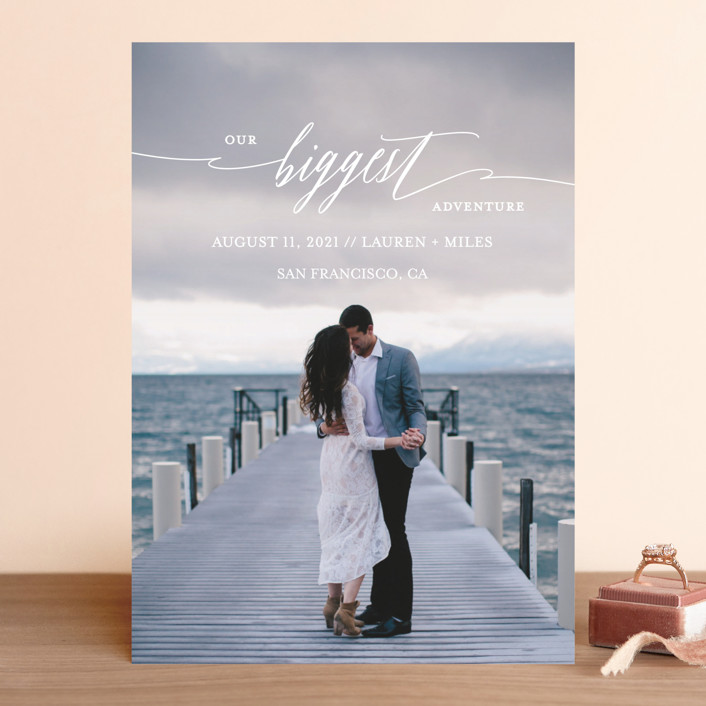"""Our Biggest Adventure"" - Modern Save The Date Cards in Almost Blush by Kate Ross."