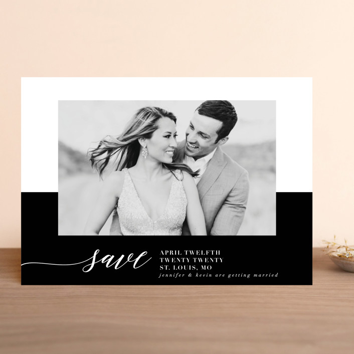 """""""Black Tie Affair"""" - Classical, Minimalist Save The Date Cards in Tuxedo by lena barakat."""