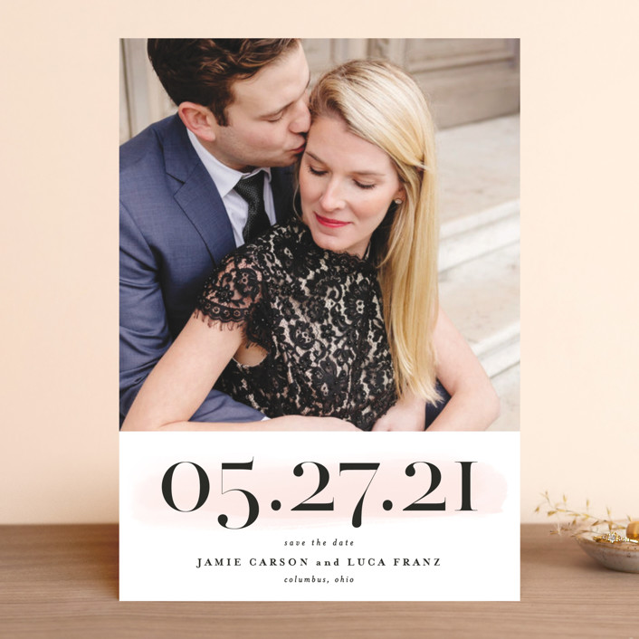 """Tall"" - Save The Date Cards in Blush by Lea Delaveris."