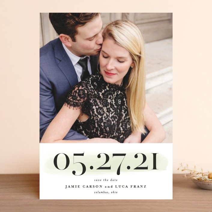 """""""Tall"""" - Save The Date Cards in Blush by Lea Delaveris."""