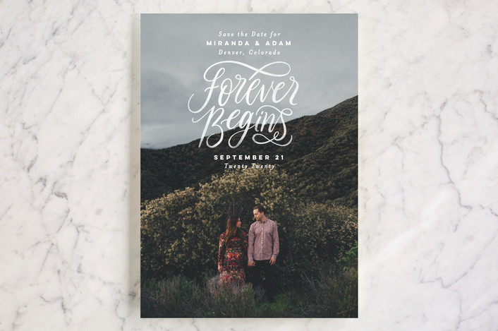 """Forever Begins"" - Bold typographic, Full-Bleed Photo Save The Date Cards in Chalk by Pink House Press."