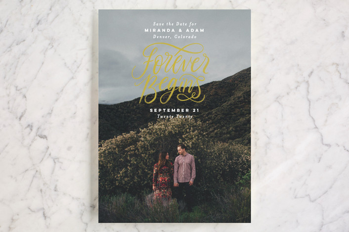 """""""Forever Begins"""" - Bold typographic, Full-Bleed Photo Save The Date Cards in Chalk by Pink House Press."""