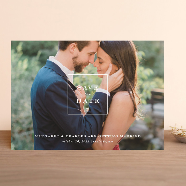 """Simple Square"" - Save The Date Cards in Snow by Amy Kross."