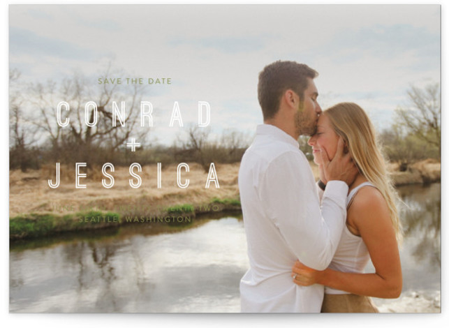 This is a landscape, portrait bold and typographic, modern, green Save the Dates by Eric Clegg called Together with Standard printing on Signature in Classic Flat Card format. This modern Save the Date card features a full bleed photo.