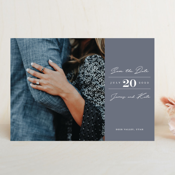 """""""In Love"""" - Simple Save The Date Cards in Navy by Eric Clegg."""
