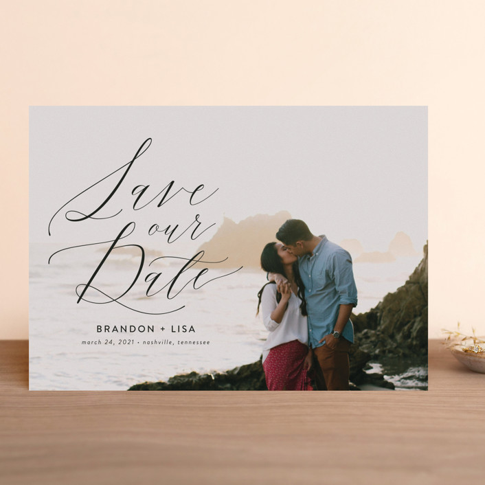 """Flowing Love"" - Save The Date Cards in Jet Black by Erika Firm."