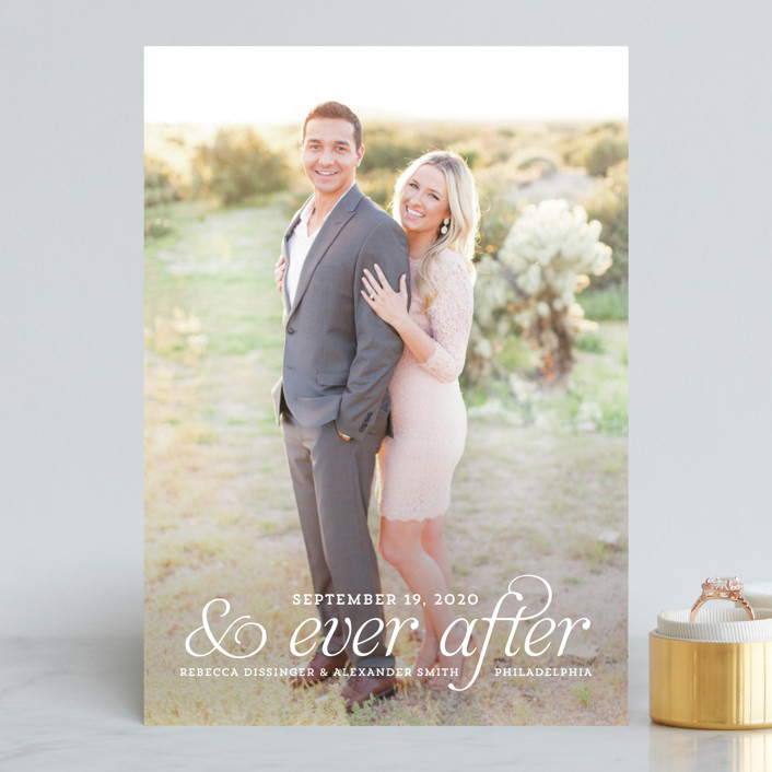 """and Ever After"" - Bohemian Save The Date Cards in Cloud by Kim Dietrich Elam."