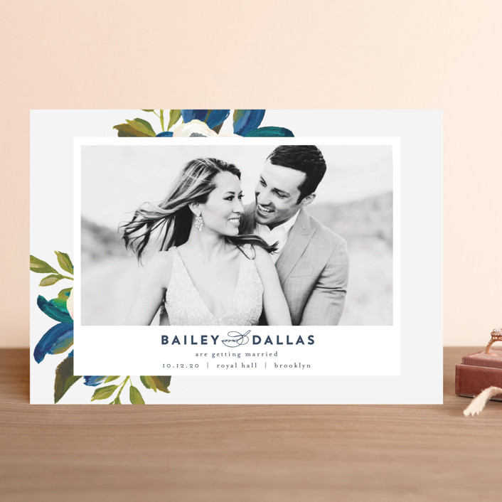 """Our Something Blue"" - Save The Date Cards in Ocean by AK Graphics."