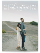 This is a white save the date by Kelly Schmidt called The Adventure Begins with standard printing on smooth signature in standard.