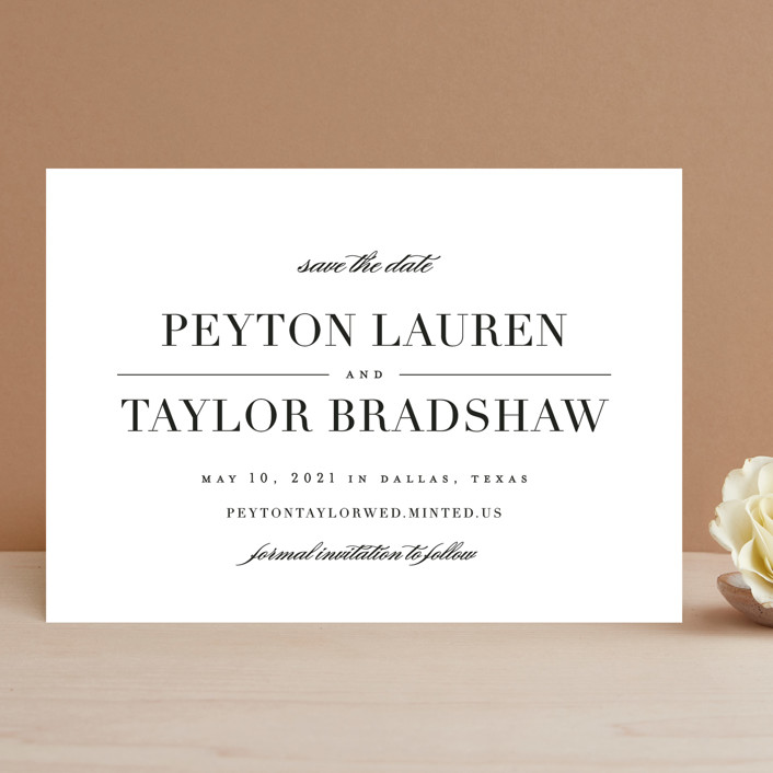"""""""Classic"""" - Save The Date Cards in Tuxedo by Lauren Chism."""