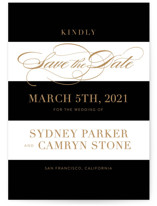 This is a black save the date by Jill Means called Fashion District with standard printing on signature in standard.