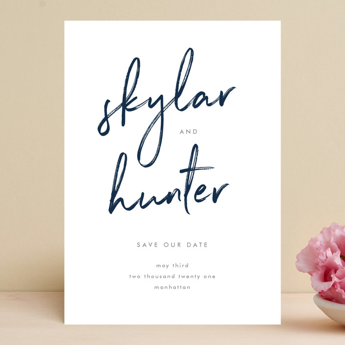 """""""Funky Names"""" - Save The Date Cards in Navy by Phrosne Ras."""