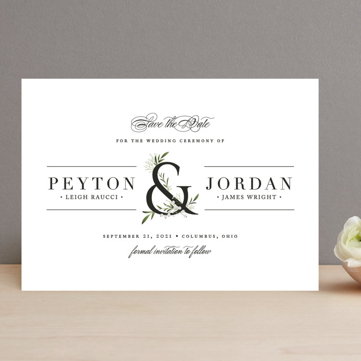 """Adorned Ampersand"" - Rustic Save The Date Cards in Cotton by Jennifer Postorino."