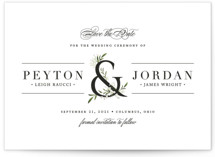 This is a black and white save the date by Jennifer Postorino called Adorned Ampersand with standard printing on signature in standard.