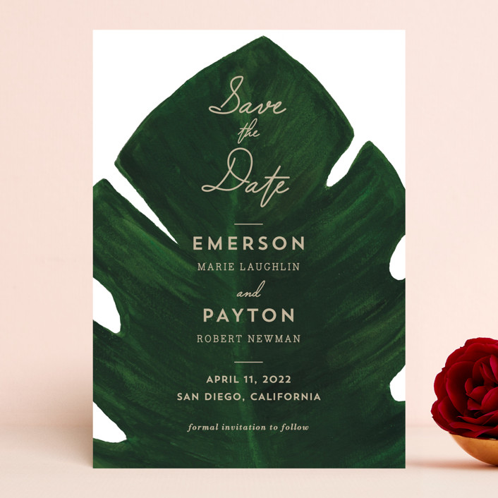 """Palm"" - Save The Date Cards in Leaf by Kaydi Bishop."