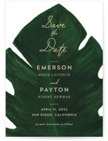 This is a green save the date by Kaydi Bishop called Palm with standard printing on signature in standard.