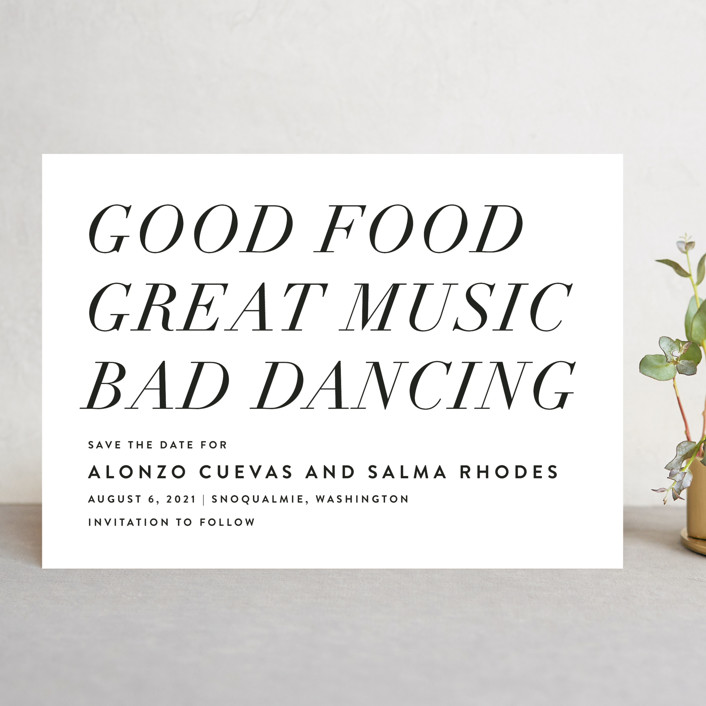 """""""Bad Dancing"""" - Save The Date Cards in Dove by Amy Payne."""