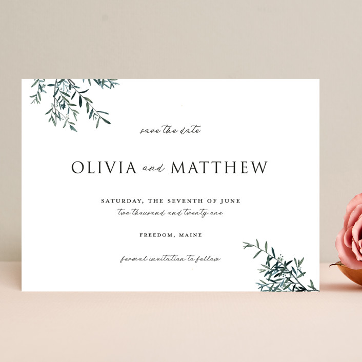 """Fresh Sage"" - Save The Date Cards in Olive by Christie Kelly."